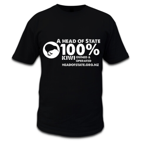 """100% Kiwi"" tee (black) - The Republican Movement of Aotearoa New Zealand"